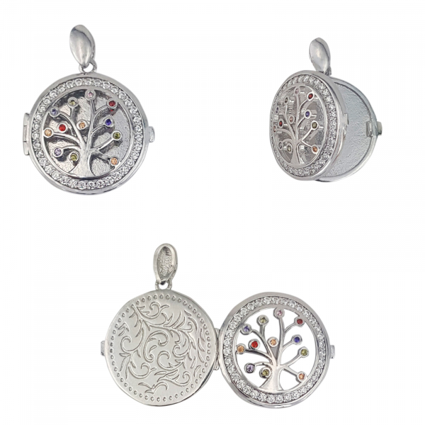 Medalion Argint 925% care se deschide, cu zirconii albe si colorate [1]