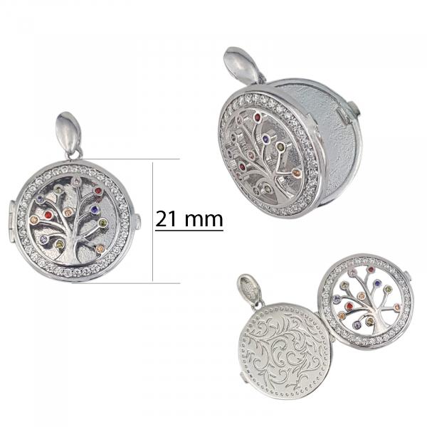 Medalion Argint 925% care se deschide, cu zirconii albe si colorate [2]