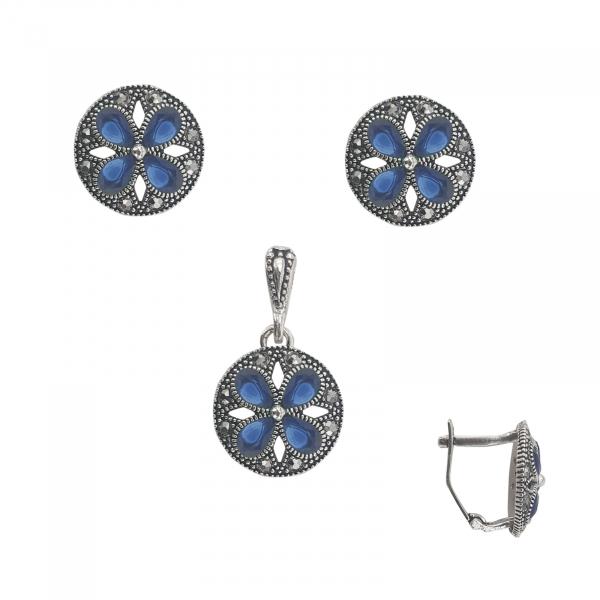 Set Argint 925% si zirconii albastre 1179A [0]
