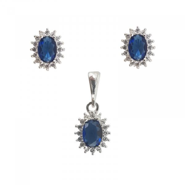 Set Argint cu zirconii albastre , cod 2415A [0]