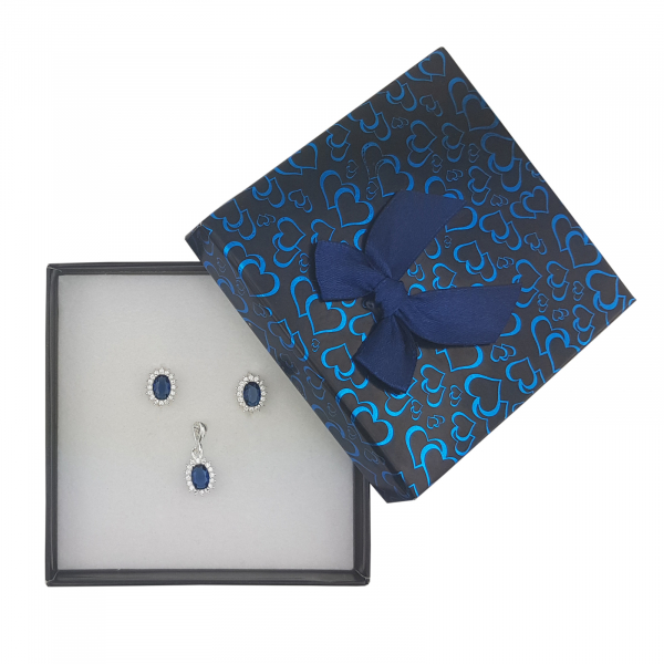 Set Argint cu zirconii albastre , cod 2415A [2]