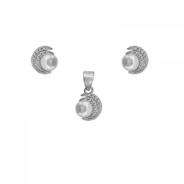 Set Argint cu zirconia si perla de cultura,cod 2364 [0]