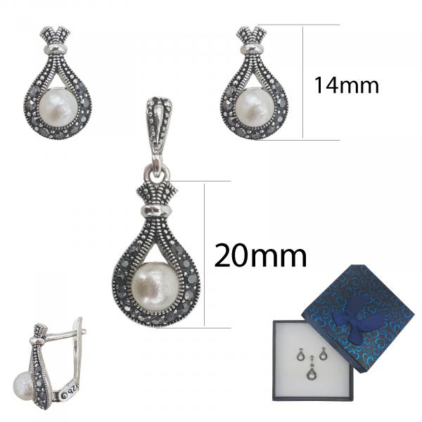 Set Argint cu marcasite si perla, cod 2285 [1]