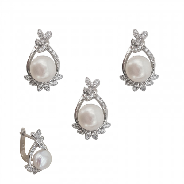 Set Argint perla cultura si zirconia, cod 2381 [0]