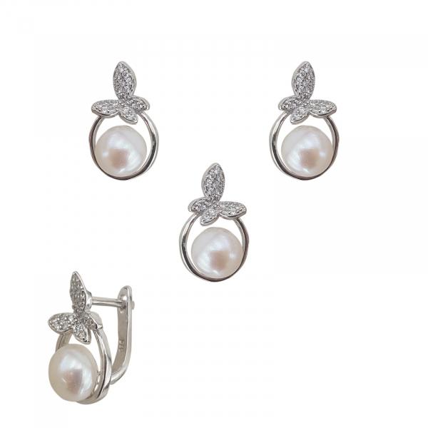 Set Argint perla cultura si zirconia, cod 2383 [0]
