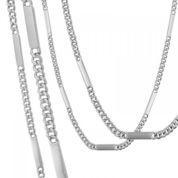 Lant Argint 925% barbatesc, model grumetta cu placute [2]