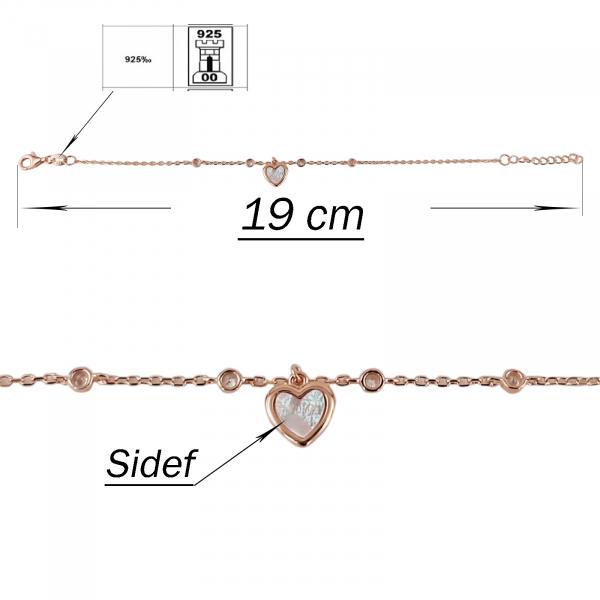 Bratara Argint 925% Rose_gold cu inimioara din sidef [2]