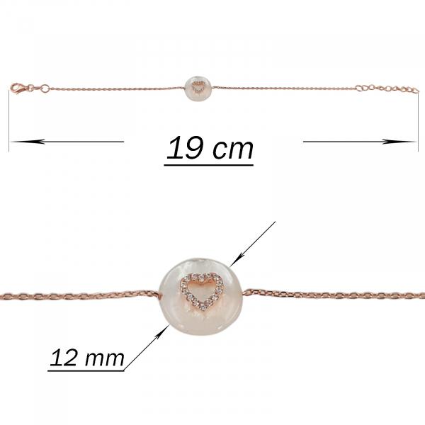 Bratara Argint 925% cu sidef si inimioara rose-gold [2]