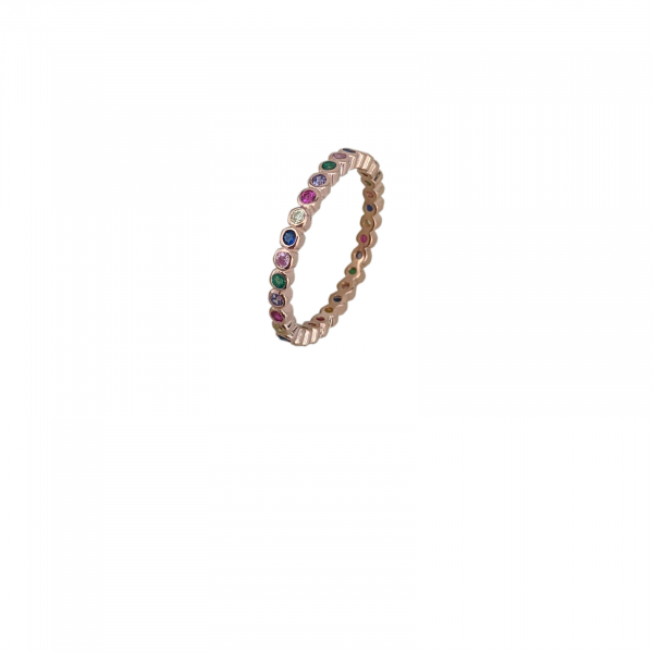 Inel Argint 925% rose-gold cu zirconii colorate [1]