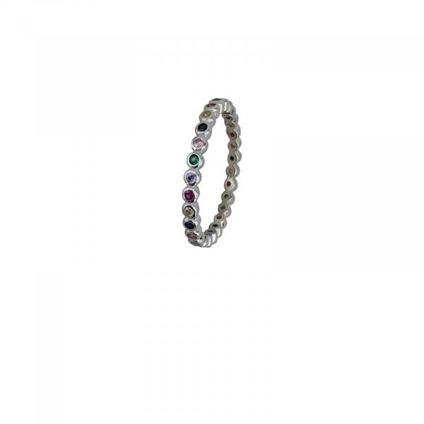 Inel Argint cu un rand de zirconii colorate [1]