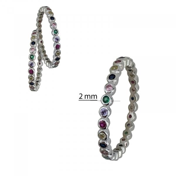 Inel Argint cu un rand de zirconii colorate [2]