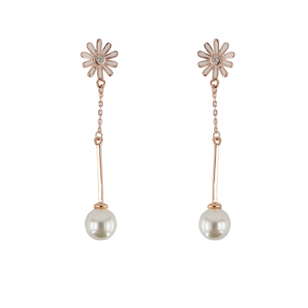 Cercei Argint 925% rose-gold cu perla [0]