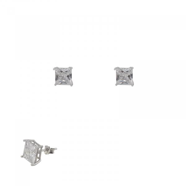 Cercei de 4mm din Argint si piatra alba patrata,cod 1506SQW4 [0]