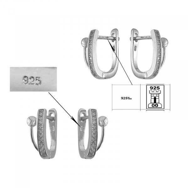 Cercei Argint 925% clasici cu CZ albe [2]