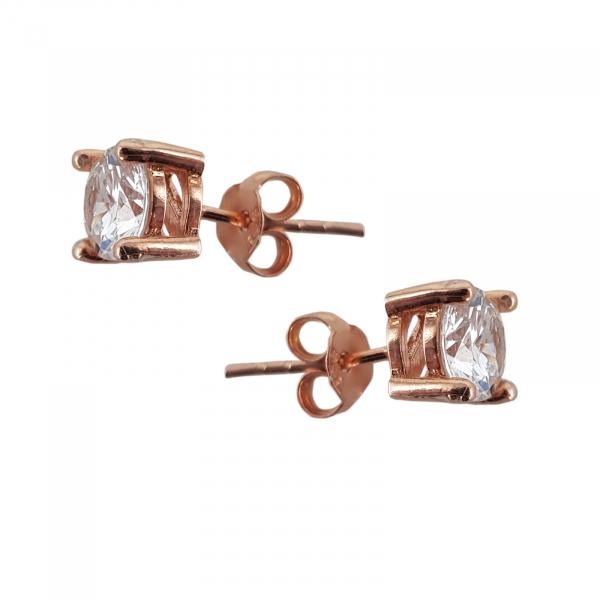 Cercei  Argint 925% rose-gold cu un zirconia de 6mm [1]