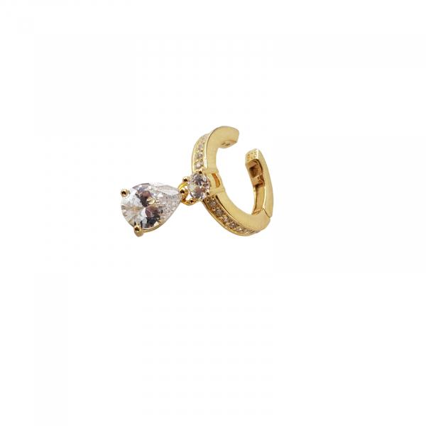 Cercei Argint 925% model ear cuff placati cu auriu si cubic zirconia in forma de lacrima [0]
