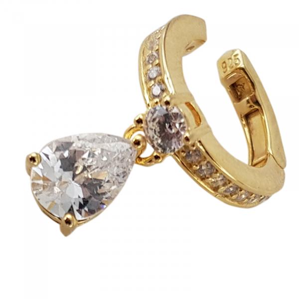 Cercei Argint 925% model ear cuff placati cu auriu si cubic zirconia in forma de lacrima [1]