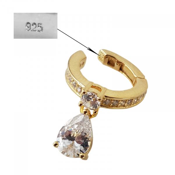Cercei Argint 925% model ear cuff placati cu auriu si cubic zirconia in forma de lacrima [2]