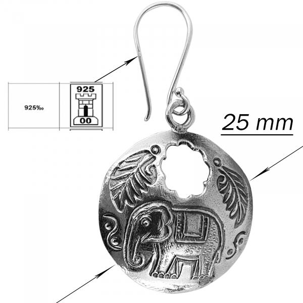Cercei Argint 925% cu elefanti Indra [2]