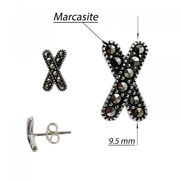 Cercei Argint 925% cu marcasite Little Tie [1]