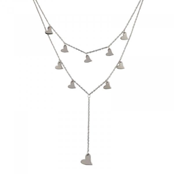 Colier Argint 925% dublu cu multiple inimioare [0]