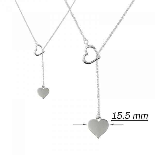 Colier Argint 925% cu doua inimioare si lungime reglabila [2]