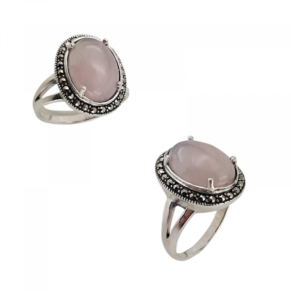 Inel Argint 925% cu marcasite si cuart roz [1]