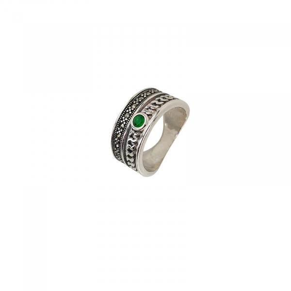 Inel Argint 925% cu marcasite si zirconia verde [0]