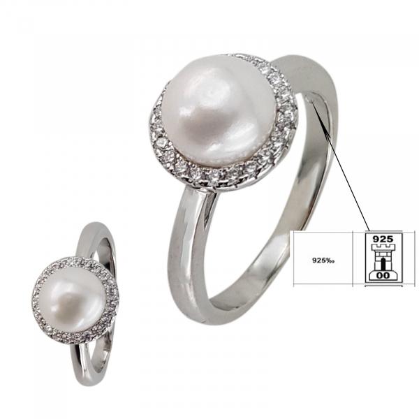 Inel Argint 925% cu perla si zirconia albe [1]