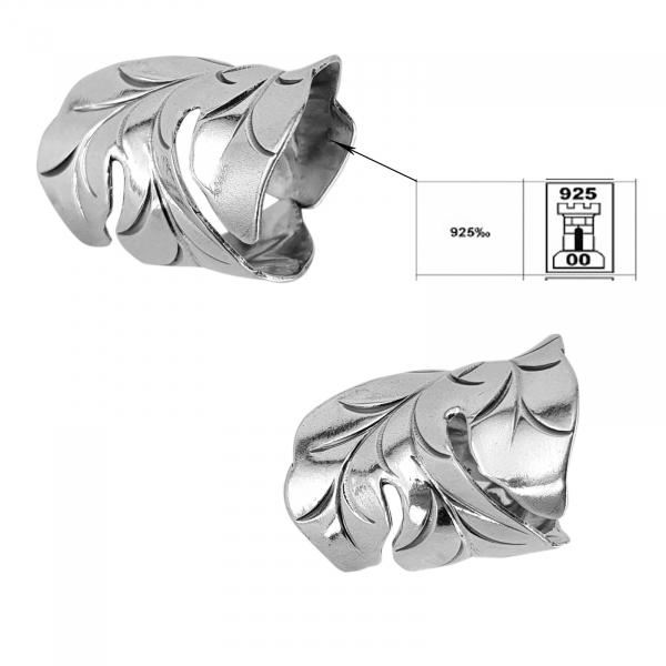Inel reglabil din Argint 925% Fancy Leaf [1]