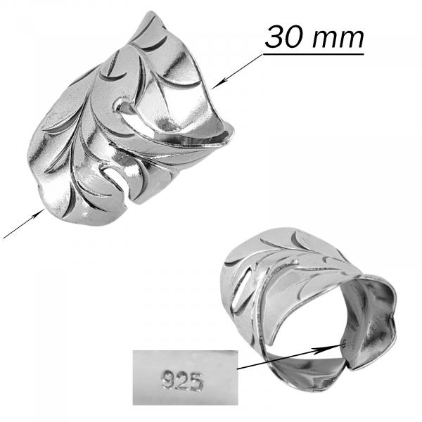 Inel reglabil din Argint 925% Fancy Leaf [2]