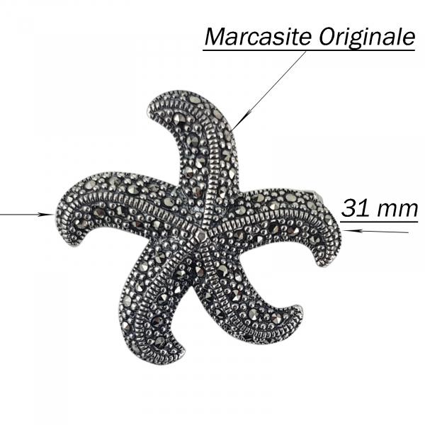 Brosa-medalion Argint 925% cu marcasite in forma de stea de mare [2]