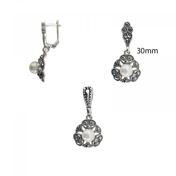 Set din Argint 925% cu marcasite si perle 1152 [2]