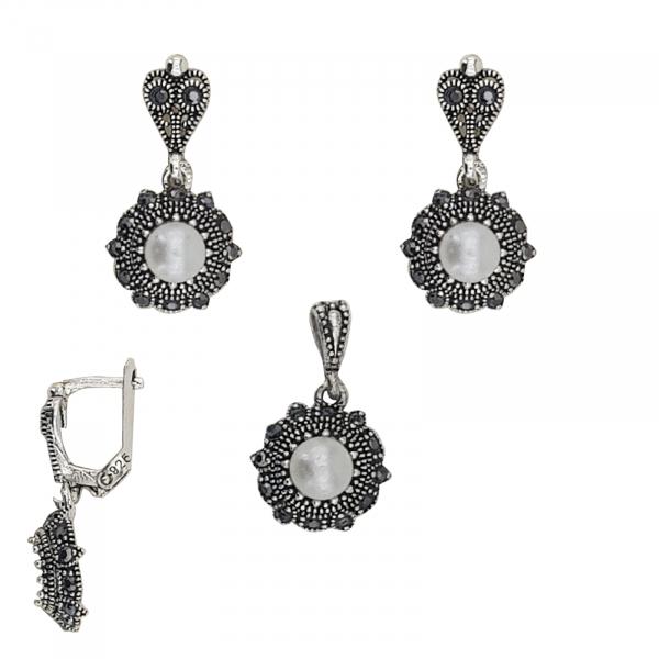 Set din Argint 925% cu marcasite si perle 1988 [0]