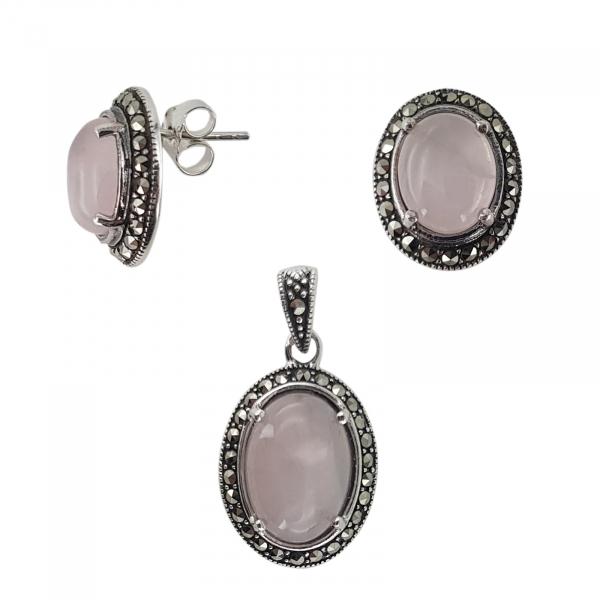 Set Argint 925% cu marcasite si cuart roz Eternal Flame [1]