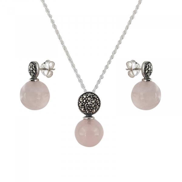 Set Argint 925% Pink Glamour cu marcasite si cuart roz [1]