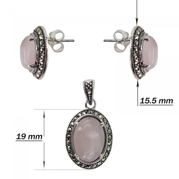 Set Argint 925% cu marcasite si cuart roz Eternal Flame [2]