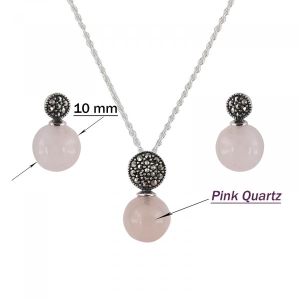 Set Argint 925% Pink Glamour cu marcasite si cuart roz [2]