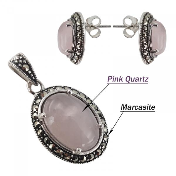 Set Argint 925% cu marcasite si cuart roz Eternal Flame [3]