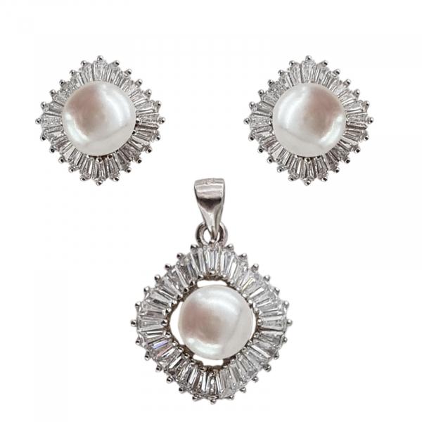 Set Argint 925% cu perle de cultura si cubic zirconia [0]