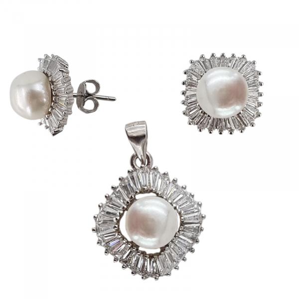 Set Argint 925% cu perle de cultura si cubic zirconia [2]