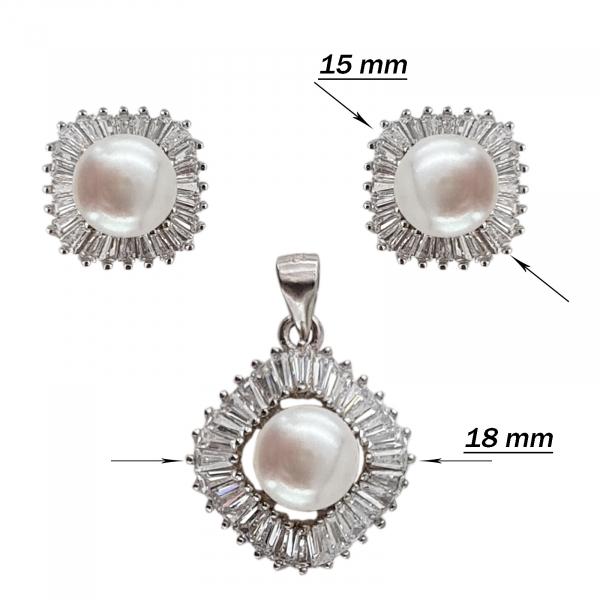 Set Argint 925% cu perle de cultura si cubic zirconia [3]