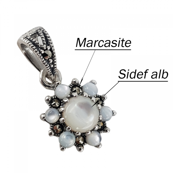 Set Argint 925%  cu sidef alb si marcasite [3]