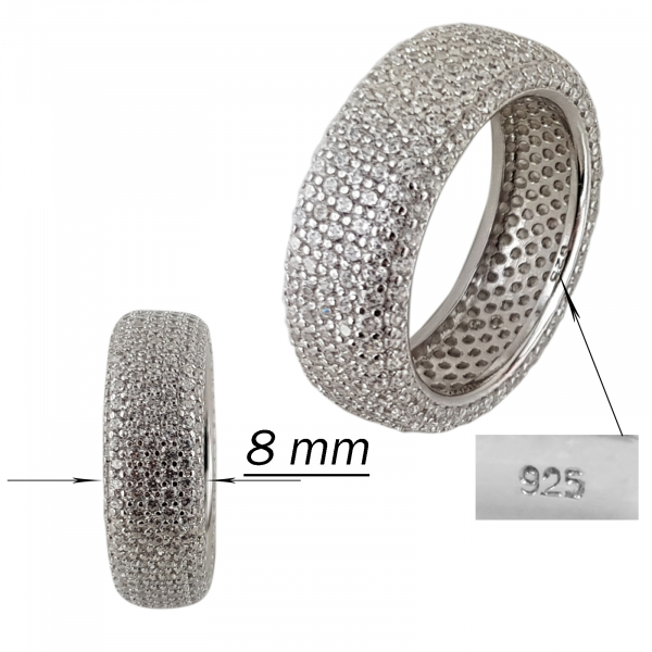 Inel Argint 925% fashion placat cu CZ albe. [2]