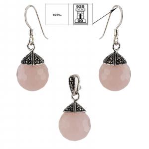 Set Argint 925% cu marcasite si cuart roz [1]