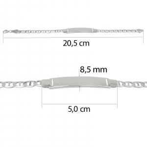 Bratara Argint 925% cu placuta si lant model marina [2]
