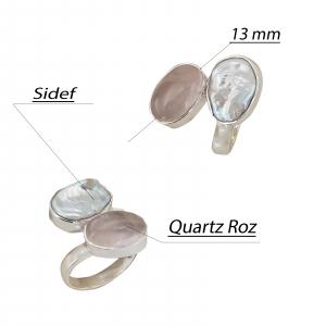 Inel Argint 925 cu Sidef si Quartz roz [1]