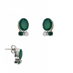 Cercei Argint 925% cu smaralde si perla cultura [0]