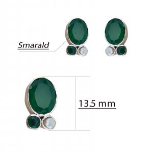 Cercei Argint 925% cu smaralde si perla cultura [1]