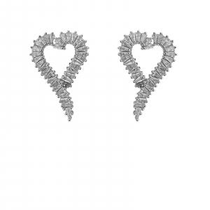 Cercei Argint in forma de inima cu zirconii albe [0]